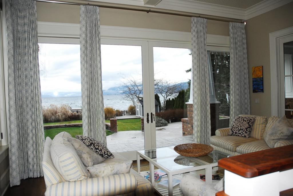 Robert Allen Embroidered Linen Drapery in Hampton Style Home