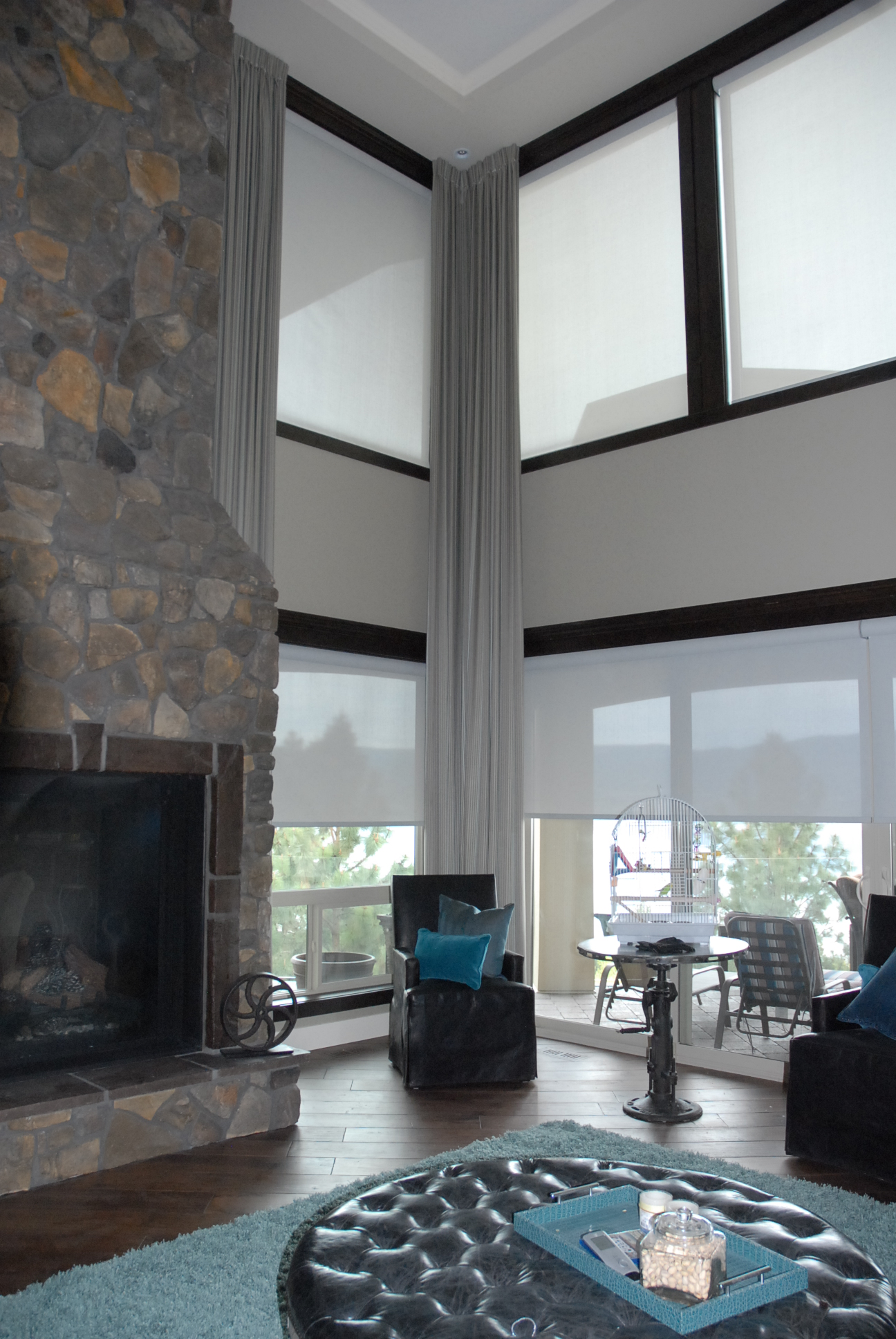 Motorized Rollershades with Floor to Ceiling Drapery | The Well Dressed Window - Hunter Douglas Blinds
