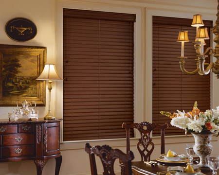 Warm color wood blinds Hunter Douglas