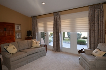 Hunter Douglas Silhouette blinds frames by custom drapes | The Well Dressed Window - Hunter Douglas Blinds