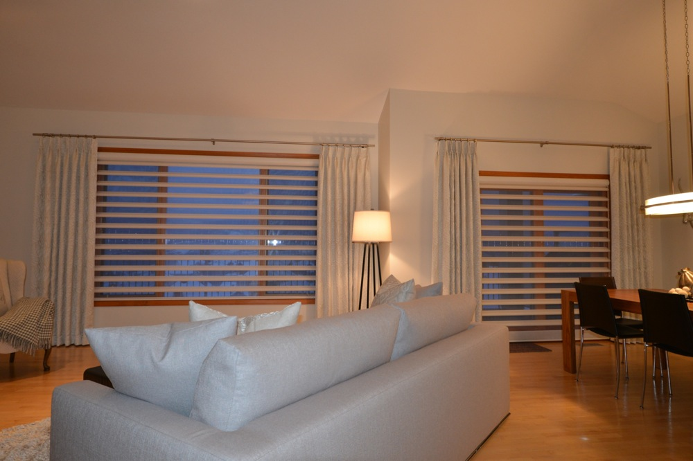 custom blinds in living room