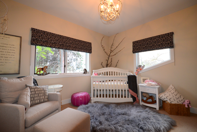 Custom Roman Shades in a baby room