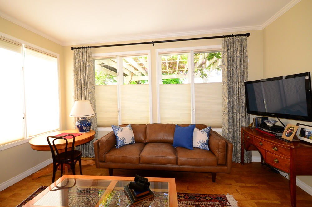 Hunter Douglas Duette Blinds with Top Down Bottom Up and cordless lift system with linen drapery 1