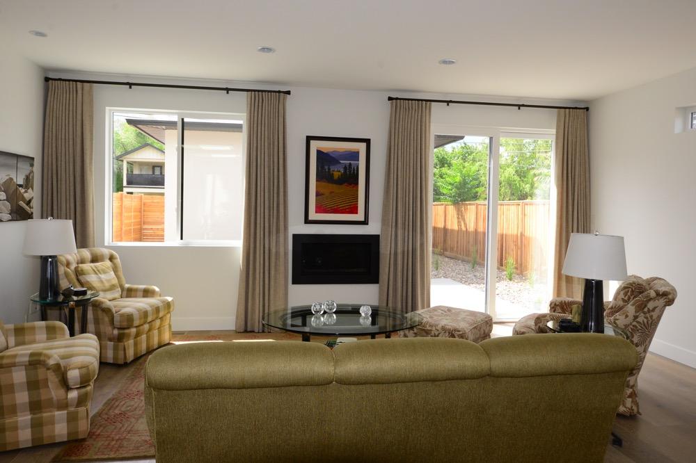 Custom window drapes in a contemporary Kelowna home
