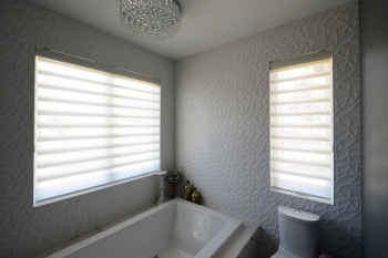 Hinter Douglas Pirouette Shades in bathroom | The Well Dressed Window - Hunter Douglas Blinds