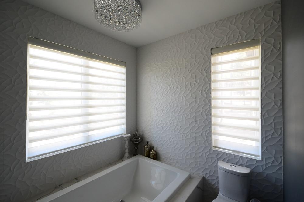 Hinter Douglas Pirouette® Shades in bathroom