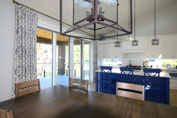 Hunter Douglas Window Treatments Kelowna | Printed drapery in kitchen