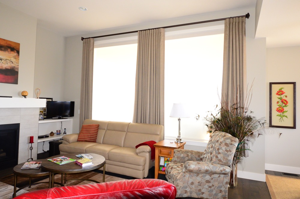Hunter Douglas Window Treatments Kelowna | Living room drapery