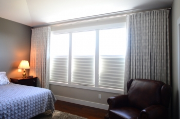 Hunter Douglas Window Treatments Kelowna | Hunter Douglas Solera® Shades with blackout drapery