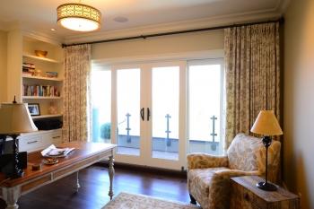 Hunter Douglas Window Treatments Kelowna | Printed drapes in home office