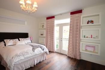 Hunter Douglas Window Treatments Kelowna | Embroidered drapery in girls room