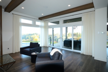 Hunter Douglas Window Treatments Kelowna | Custom Sheer White Drapery for Living Room