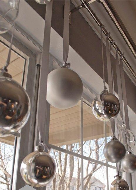 Hunter Douglas Window Treatments Kelowna | Holiday Window Decorating Ideas: Hanging tree ornaments in window