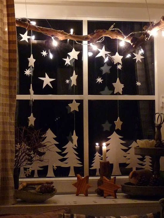 Hunter Douglas Window Treatments Kelowna | Holiday Window Decorating Ideas: Hanging branch with lights