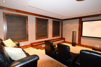 Blackout shades with enclosed panels in theatre room