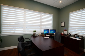 Graber banded shades in commercial office