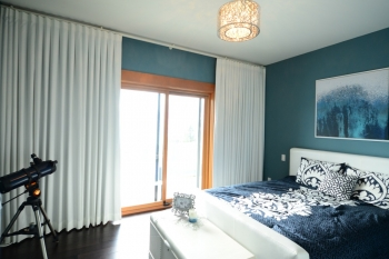 Blackout drapery to cover sliding door | The Well Dressed Window Kelowna