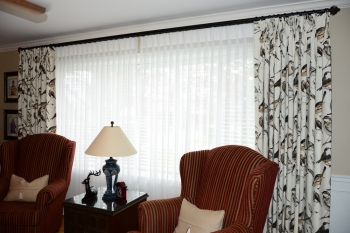Same sheer with traditional pinch pleats and decorative panels