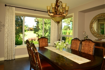 Traditional style embroidered fabric drapes | The Well Dressed Window Kelowna