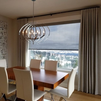 Modern, clean lines paired with Kravet drapery panels | The Well Dressed Window Kelowna