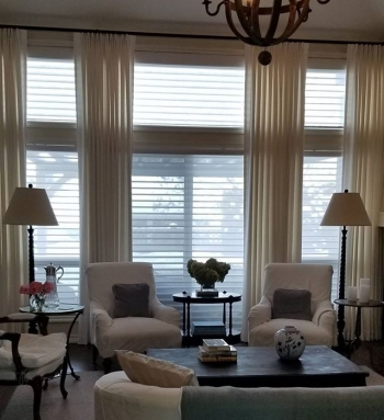 Hunter Douglas silhouettes paired with overheight drapery | The Well Dressed Window Kelowna