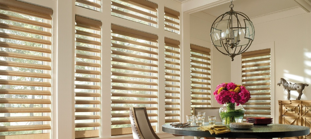 A photo of clean wooden blinds