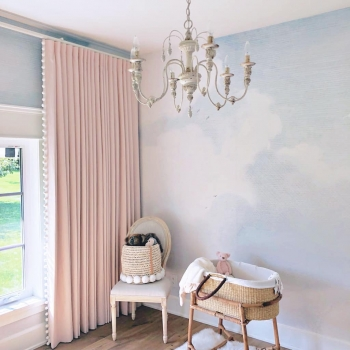 Soft pink linen drapery for Jillian Harris's nursery | The Well Dressed Window Kelowna