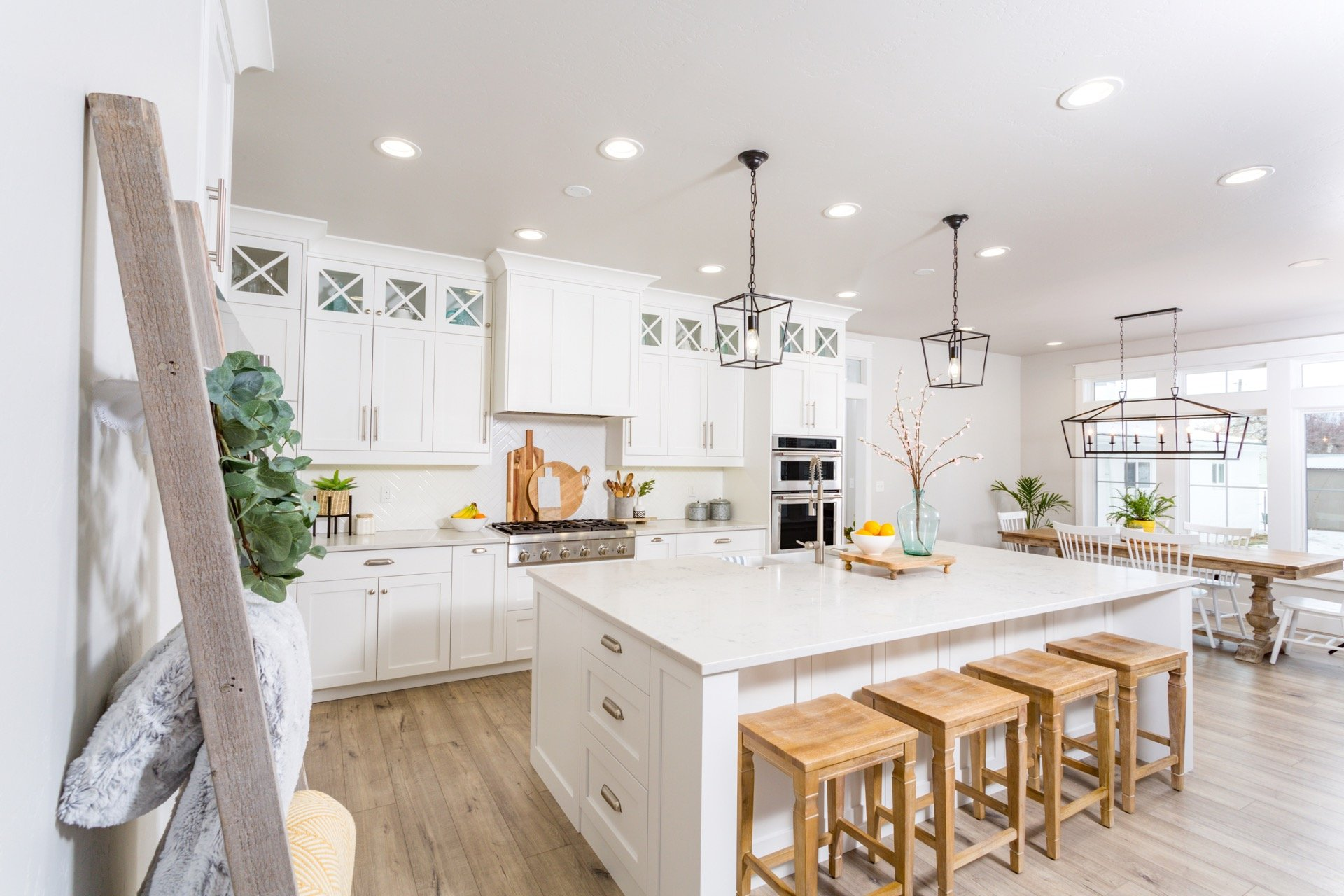 New kitchen with island and modern farm style