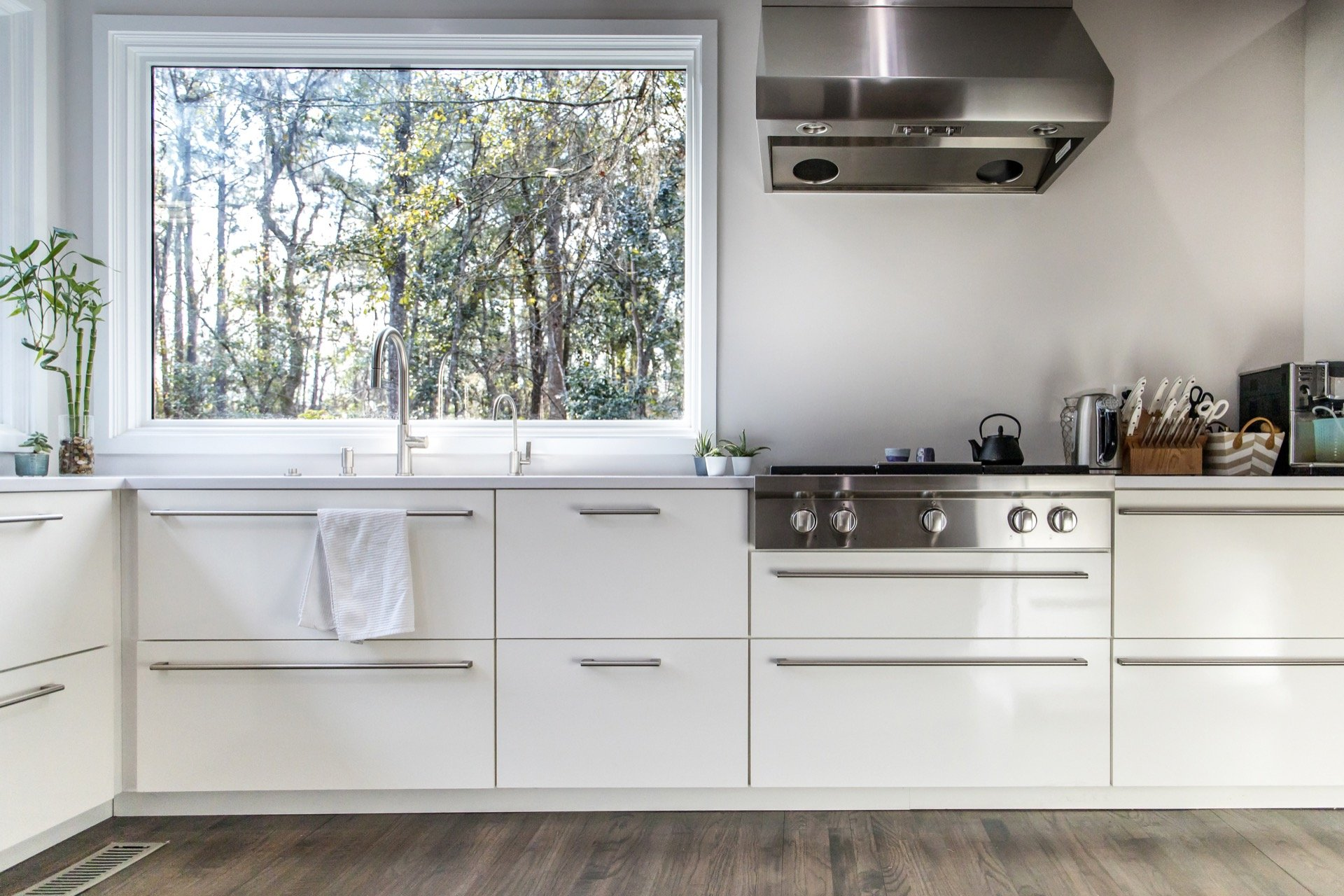 Spacious kitchen with large new window